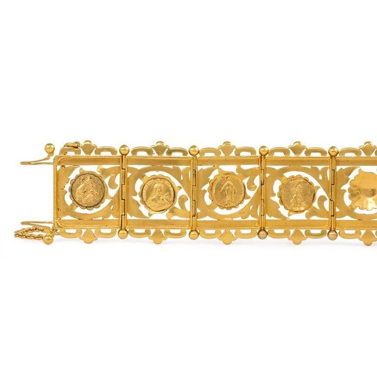 Women's or Men's Art Nouveau Gold Panel Link Bracelet For Sale