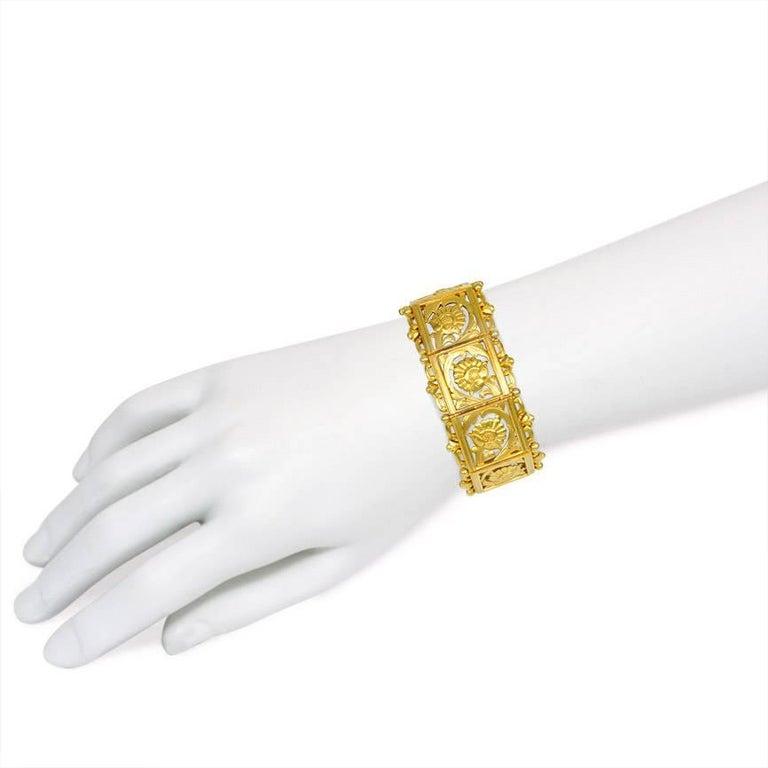 Art Nouveau Gold Panel Link Bracelet For Sale 1