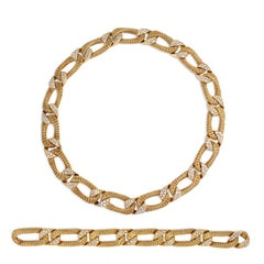 Georges L'Enfant Gold and Diamond Collar and Bracelet; Combine Into One Necklace
