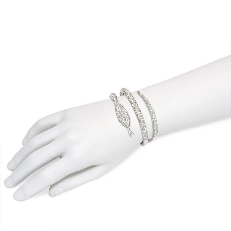 Women's or Men's French Art Deco Diamond Coiled Serpent Bracelet For Sale