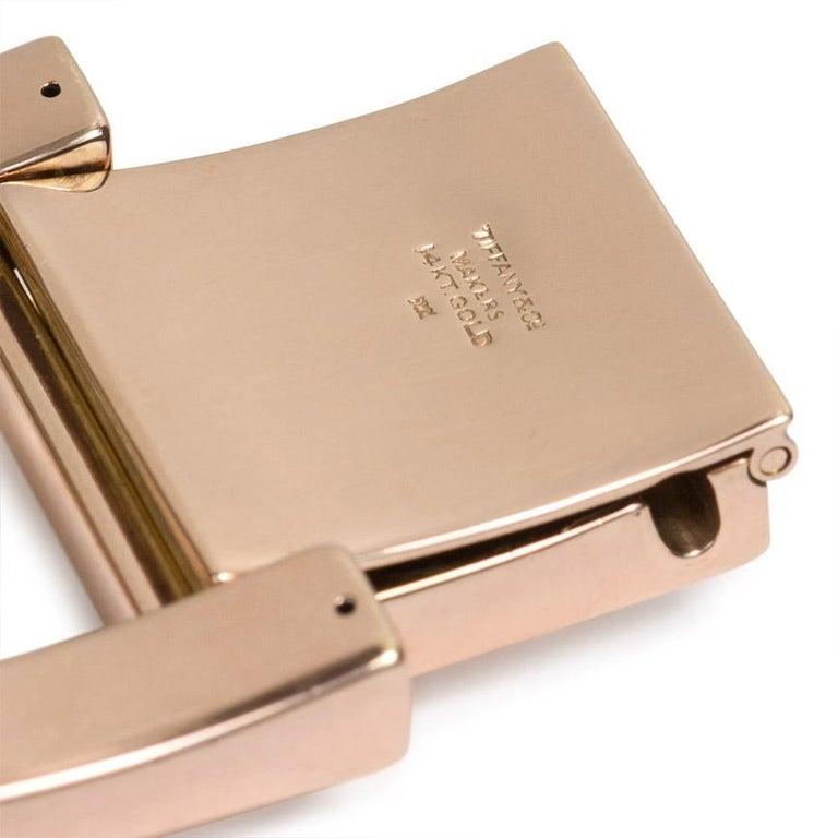Retro Tiffany & Co. 1940s Rose Gold Plaque Link Bracelet For Sale
