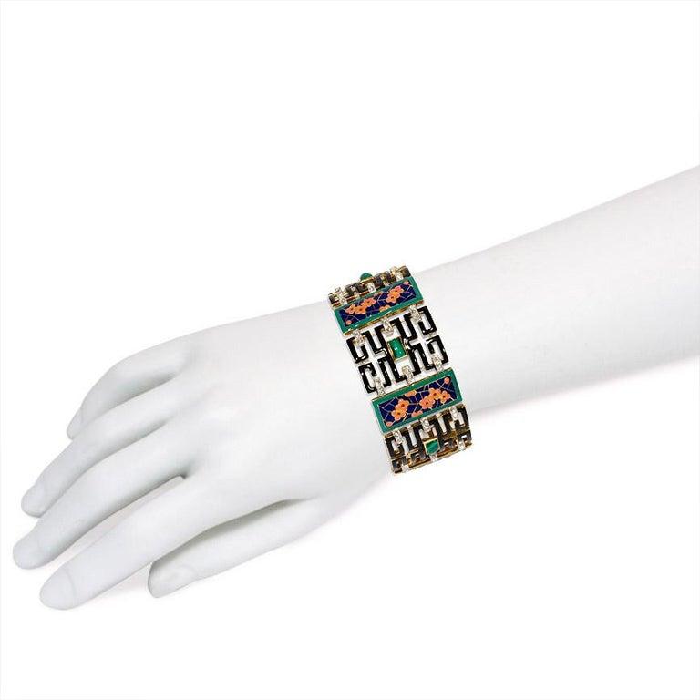 Women's or Men's French Art Deco Chinoiserie Diamond Malachite Enamel Gold Bracelet For Sale
