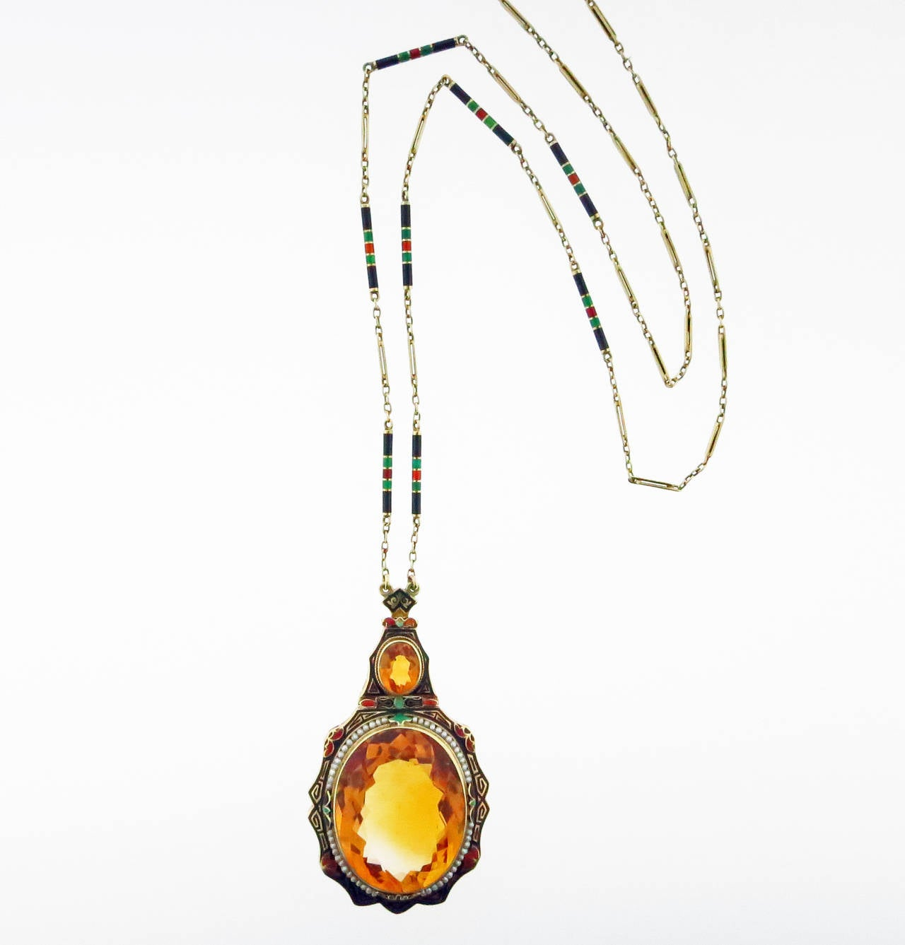 Distinctive Art Deco Enamel Citrine Pearl Gold Necklace In Excellent Condition For Sale In Lambertville, NJ