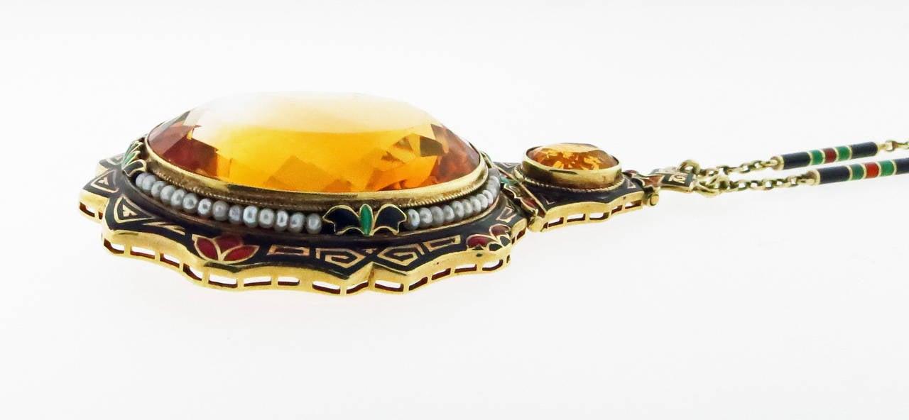 Distinctive Art Deco Enamel Citrine Pearl Gold Necklace 4