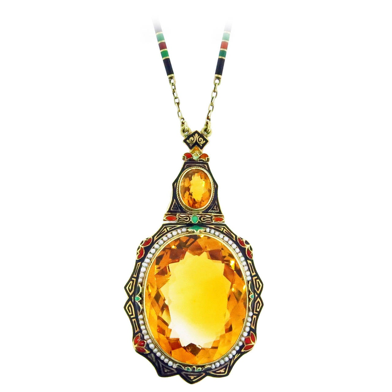 Distinctive Art Deco Enamel Citrine Pearl Gold Necklace For Sale