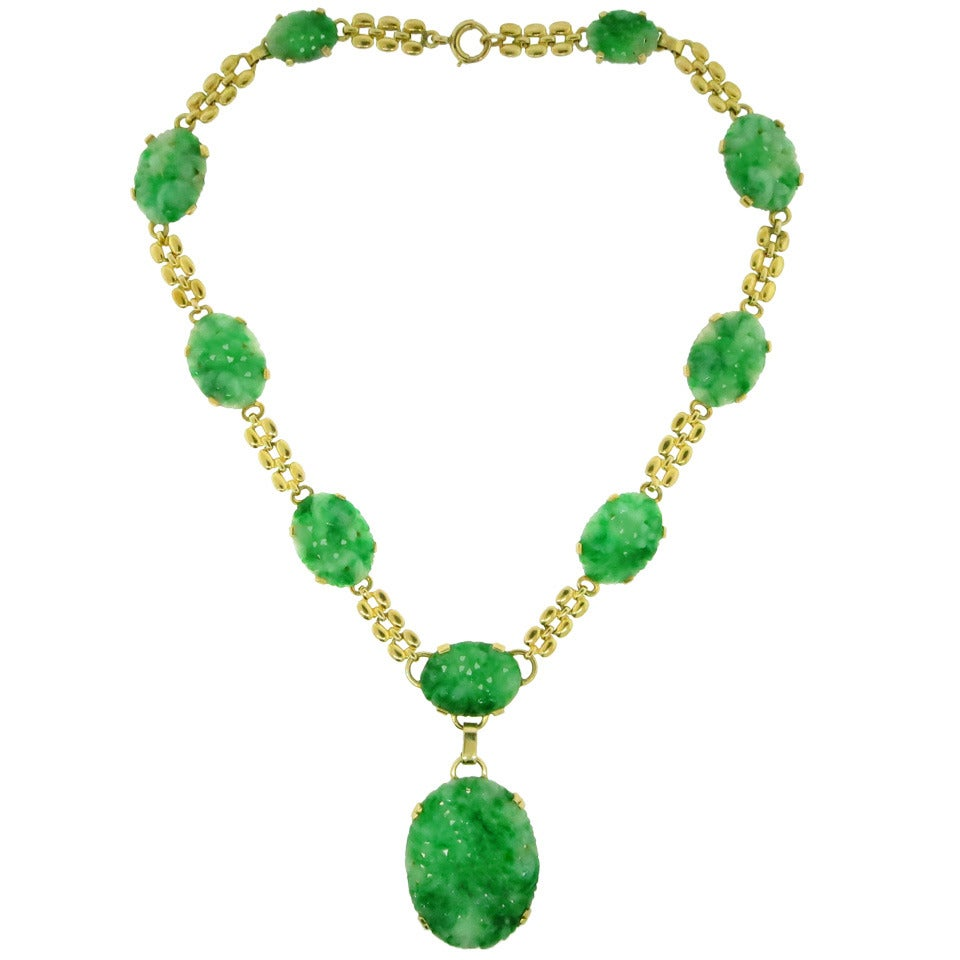 Carved jade gold floral necklace and pendant at 1stdibs for Pictures of jade jewelry