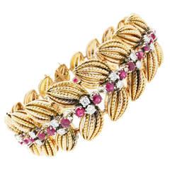 Ruby Diamond Gold Rope Leaf Bracelet circa 1960s