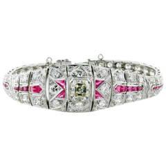Park Place Antique Jewelry Asscher Cut Art Deco Ruby Diamond Platinum Bracelet