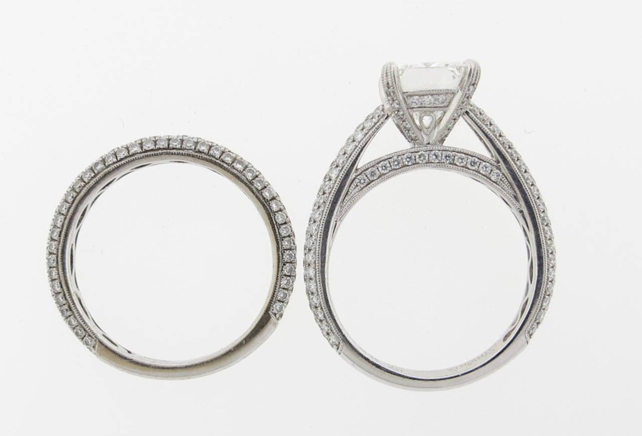 Simon G. 2.00 Carat GIA Cert Diamond Gold Engagement Set 3