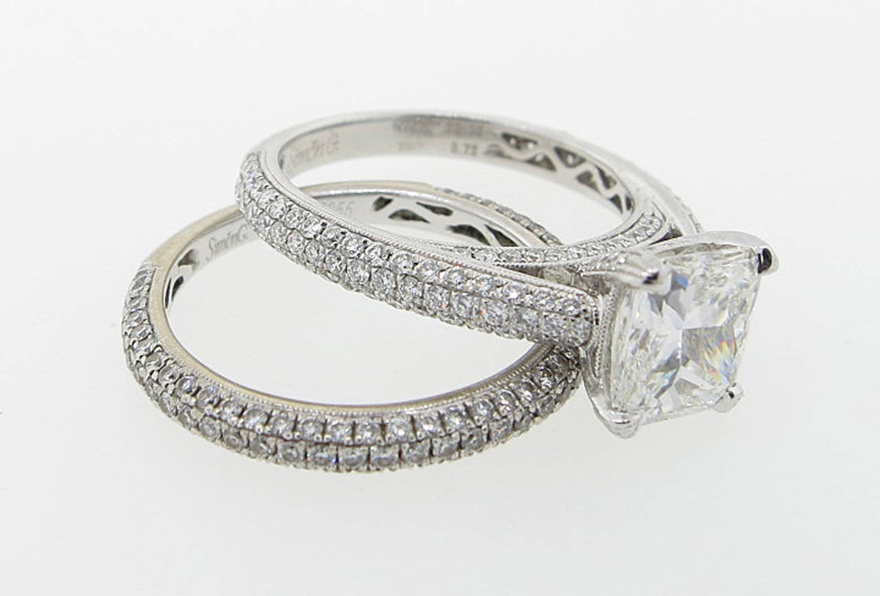 Simon G. 2.00 Carat GIA Cert Diamond Gold Engagement Set 4
