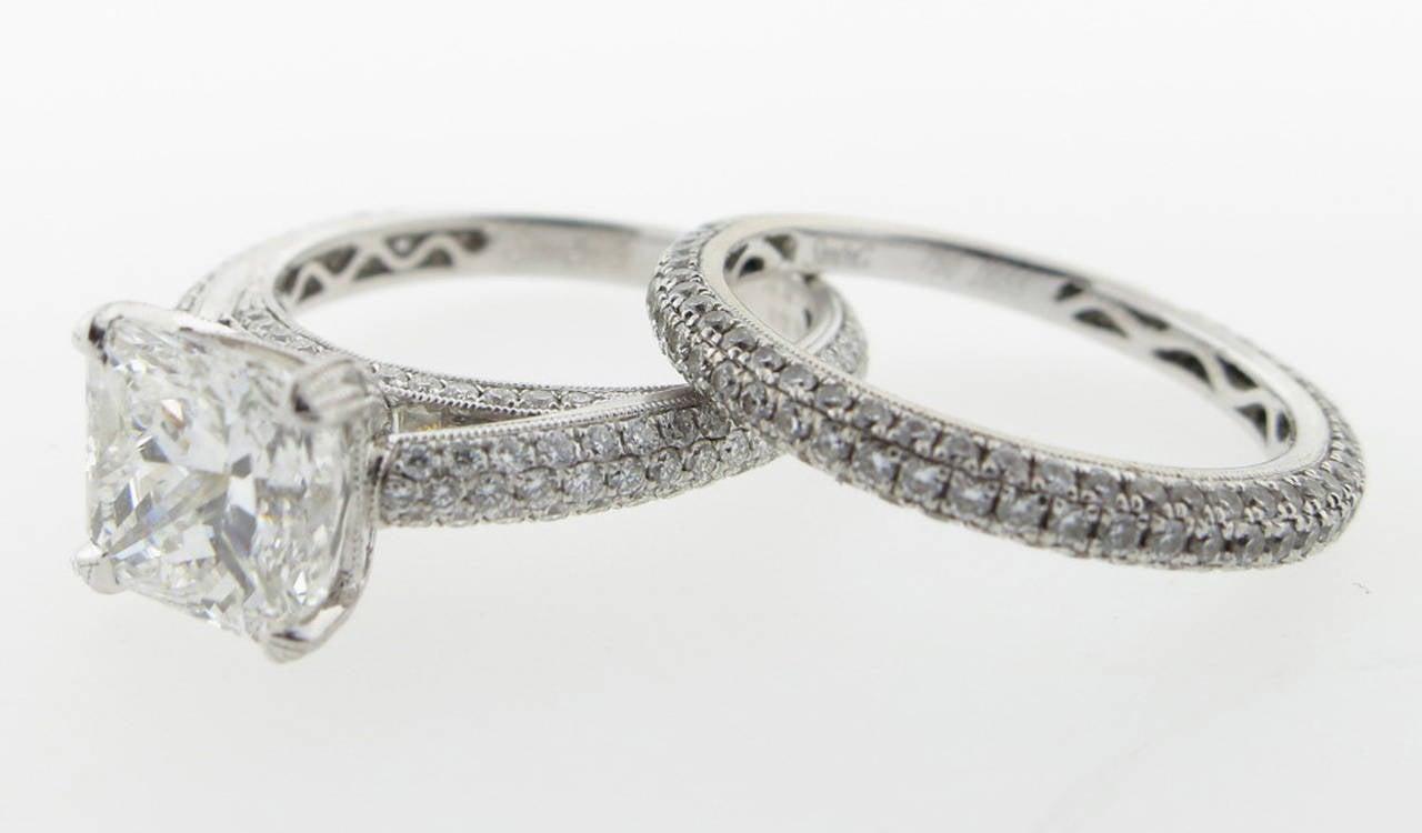 Simon G. 2.00 Carat GIA Cert Diamond Gold Engagement Set 2