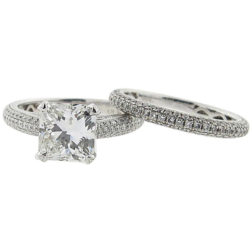 Simon G. 2.00 Carat GIA Cert Diamond Gold Engagement Set 1