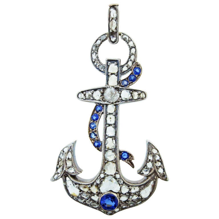 Antique Quot Hope Quot Anchor With Rose Cut Diamonds And Sapphires