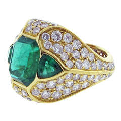 Rare All Natural Emerald and Diamond Ring