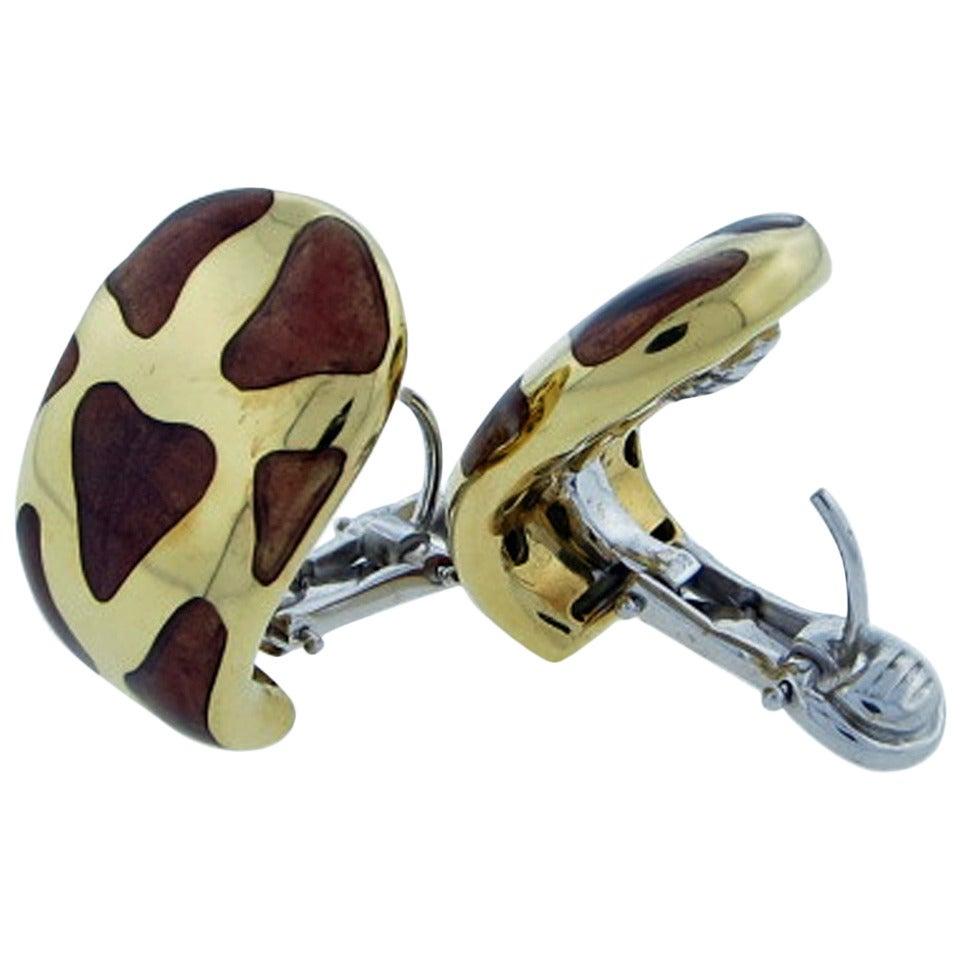 Roberto Coin Enamel Gold Giraffe Earrings 1