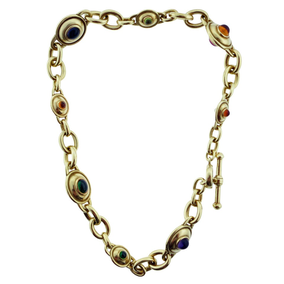 Kieselstein-Cord Substantial Gemstone Gold Necklace For Sale