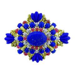 Vivid Lapis Lazuli, Ruby and Diamond Brooch