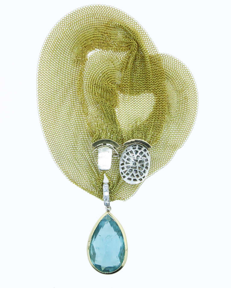 Women's Silky Mesh Aquamarine Diamond Necklace For Sale