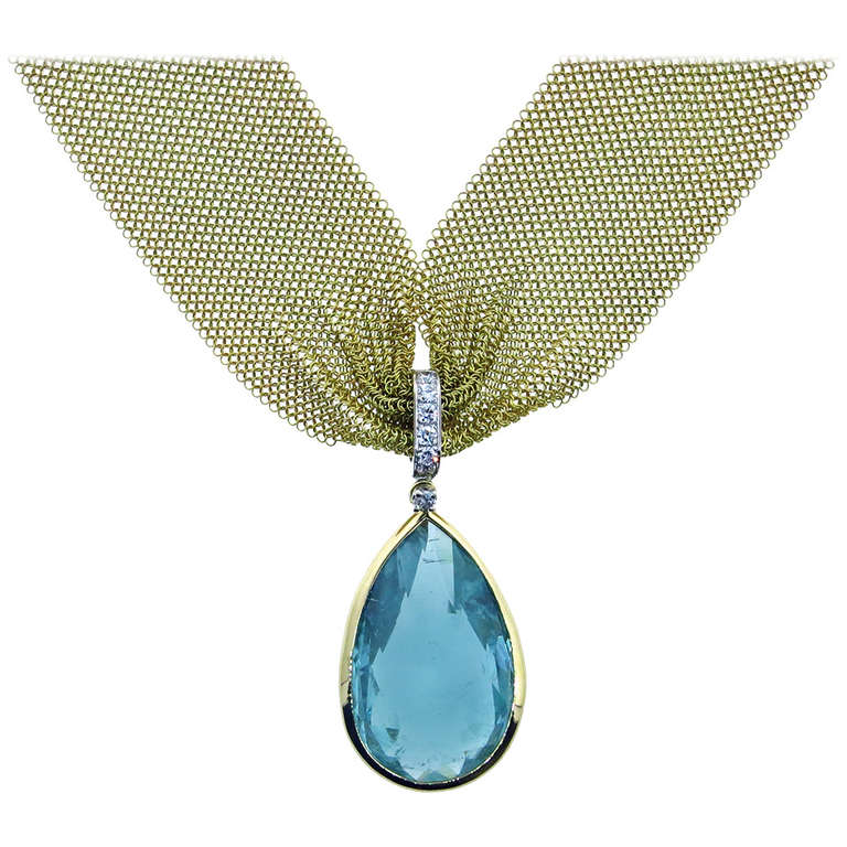 Silky Mesh Aquamarine Diamond Necklace For Sale