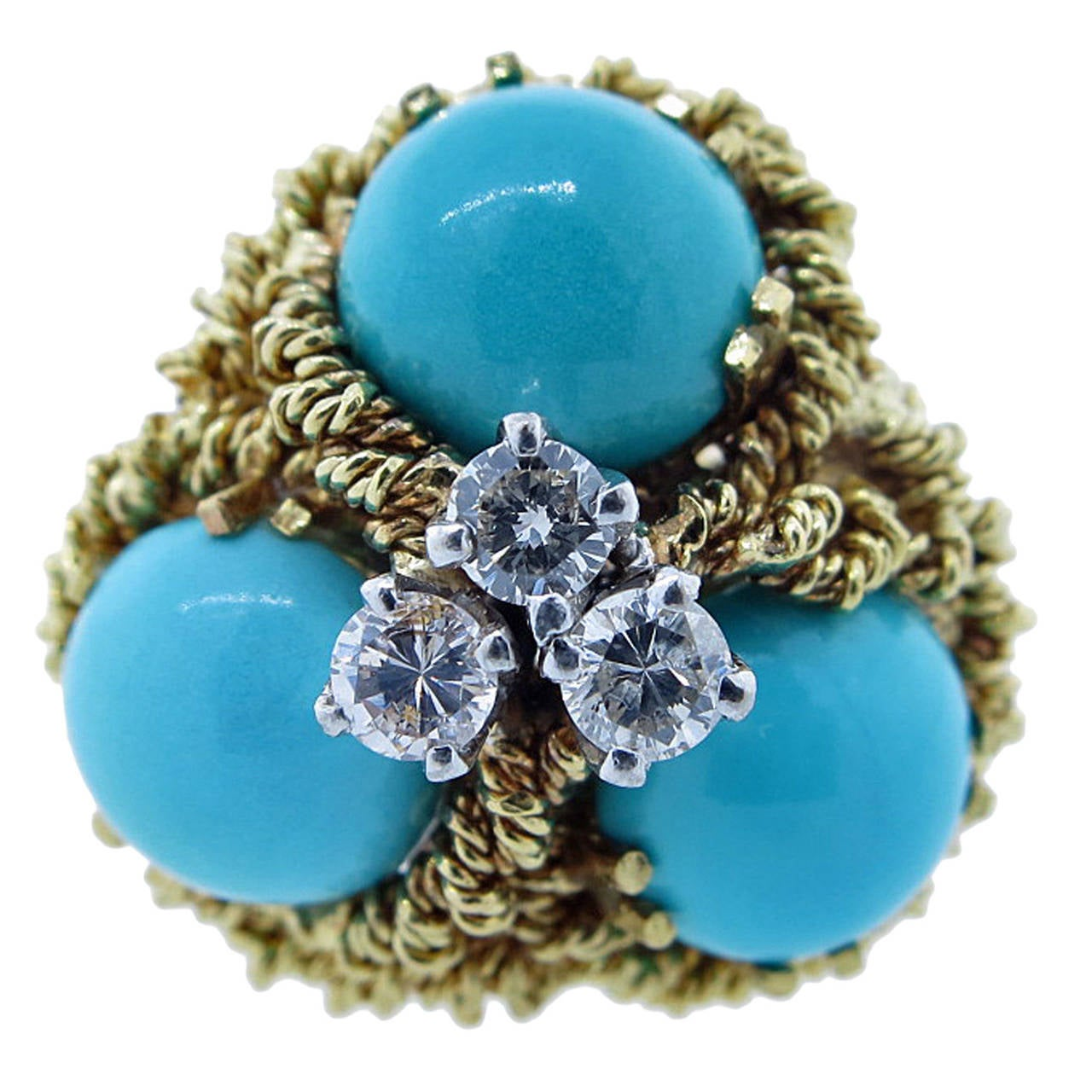 Turquoise Diamond Textured Gold Cluster Ring