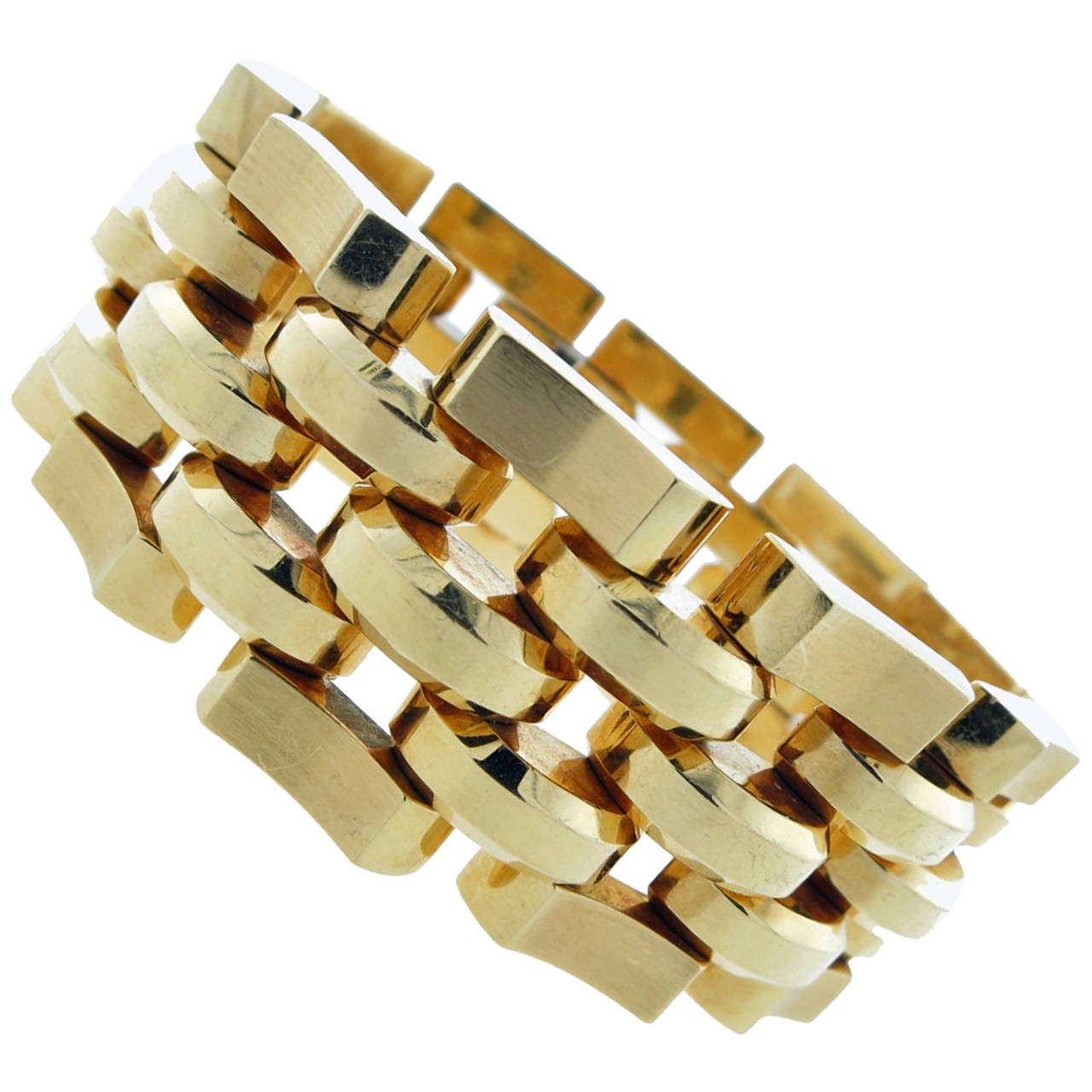 Wide Weighty And Wonderful Retro Gold Link Bracelet For