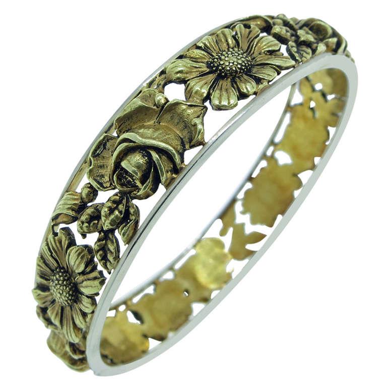 Art Nouveau  French Floral Design Repousse Bangle Bracelet