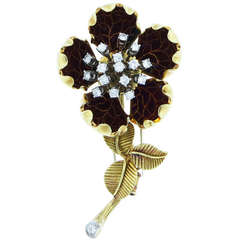 Van Cleef & Arpels French Enamel En Tremblant  Diamond Brooch