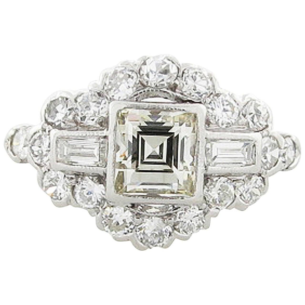 unique platinum art deco square cut diamond ring at 1stdibs. Black Bedroom Furniture Sets. Home Design Ideas