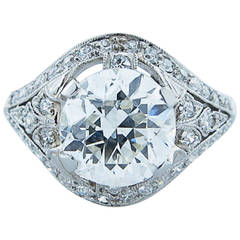 Park Place Antique Jewelry Glorious Marcus Art Deco 2 32 Carat Diamond Platinum Enement Ring
