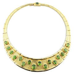 Iconic Modernist Burle Marx Peridot Gold Collar