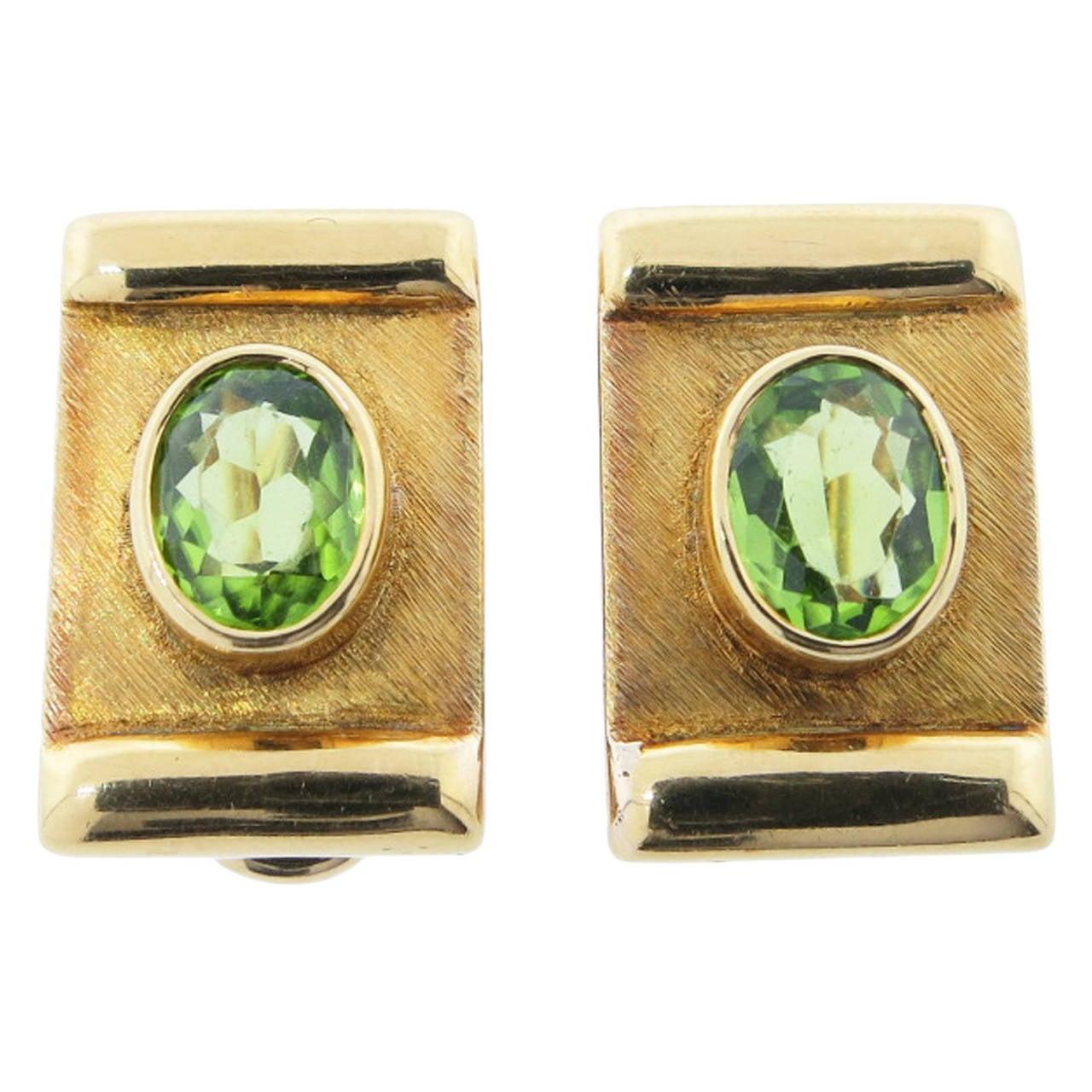 Modernist Burle Marx Peridot Gold Earrings