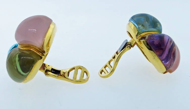 Women's Laura Munder Chunky Cabochon Earrings For Sale