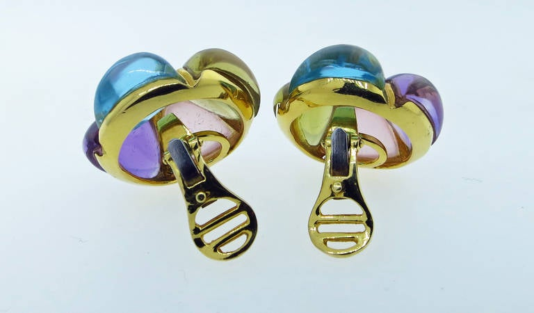 Laura Munder Chunky Cabochon Earrings In Excellent Condition For Sale In Lambertville, NJ