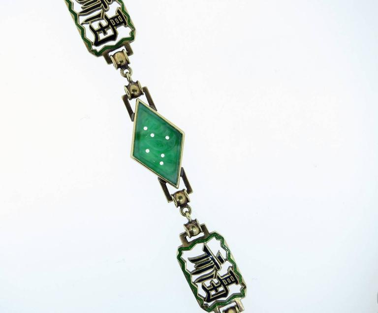 """ Long Happy Life "" Carved Jade And Enamel Necklace In Excellent Condition For Sale In Lambertville, NJ"