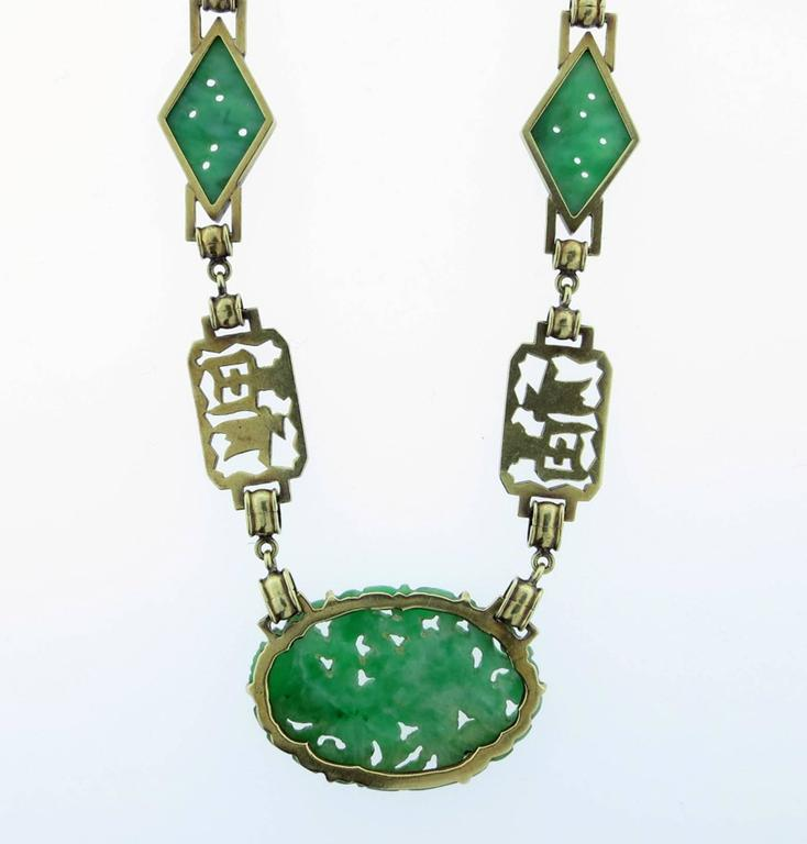 "Women's  "" Long Happy Life "" Carved Jade And Enamel Necklace For Sale"