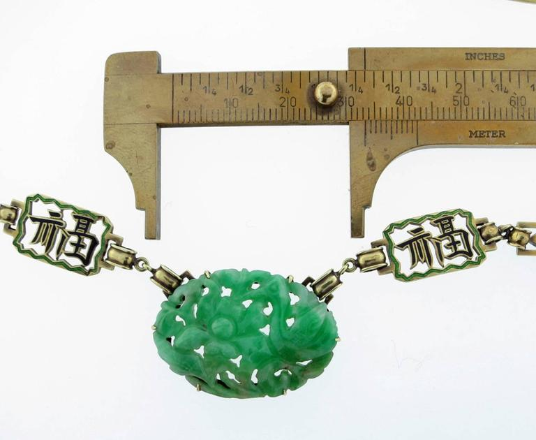 """ Long Happy Life "" Carved Jade And Enamel Necklace For Sale 1"