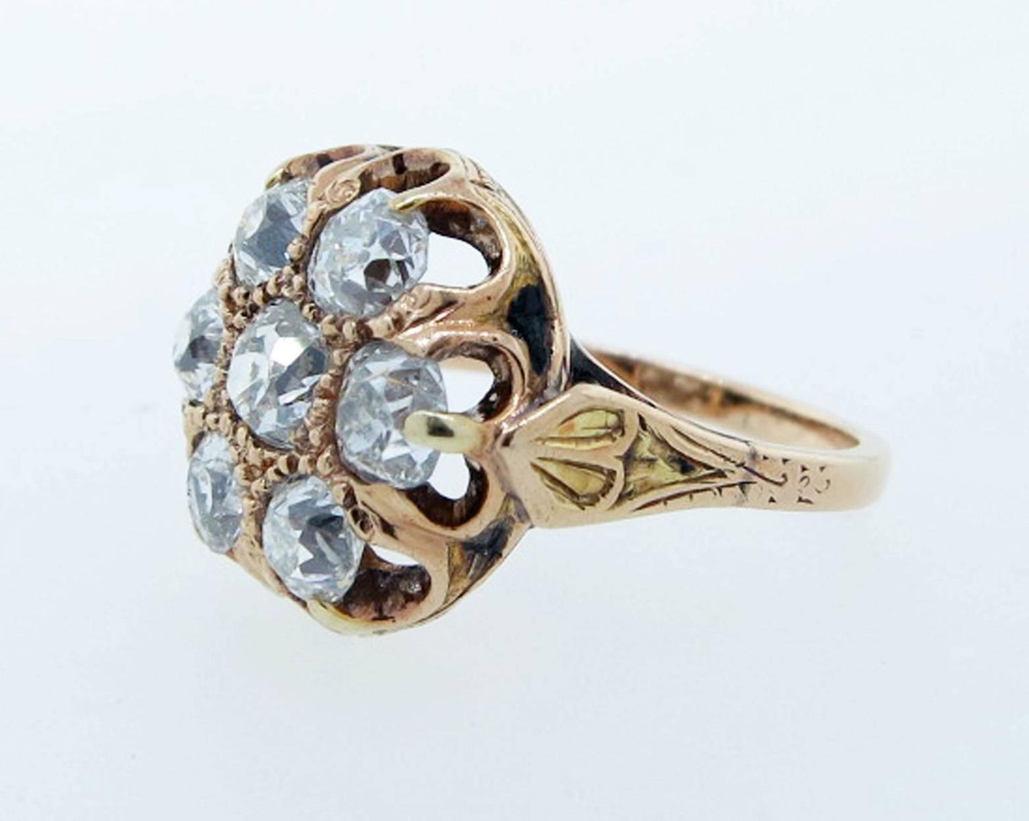 Antique Victorian Diamond Cluster Ring For Sale at 1stdibs