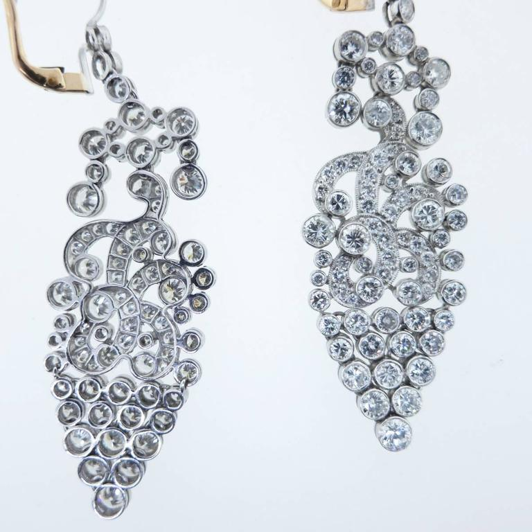 Glamorous Diamond Platinum Drop Earrings At 1stdibs