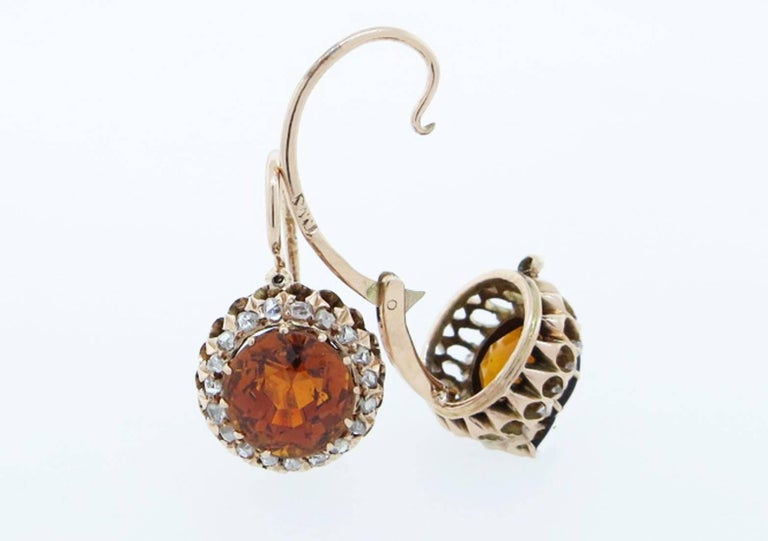 Antique Russian Citrine And Rose Cut Diamond Earrings For 1