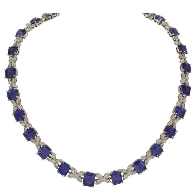 Oscar Heyman Original Sapphire Diamond Platinum Necklace ...