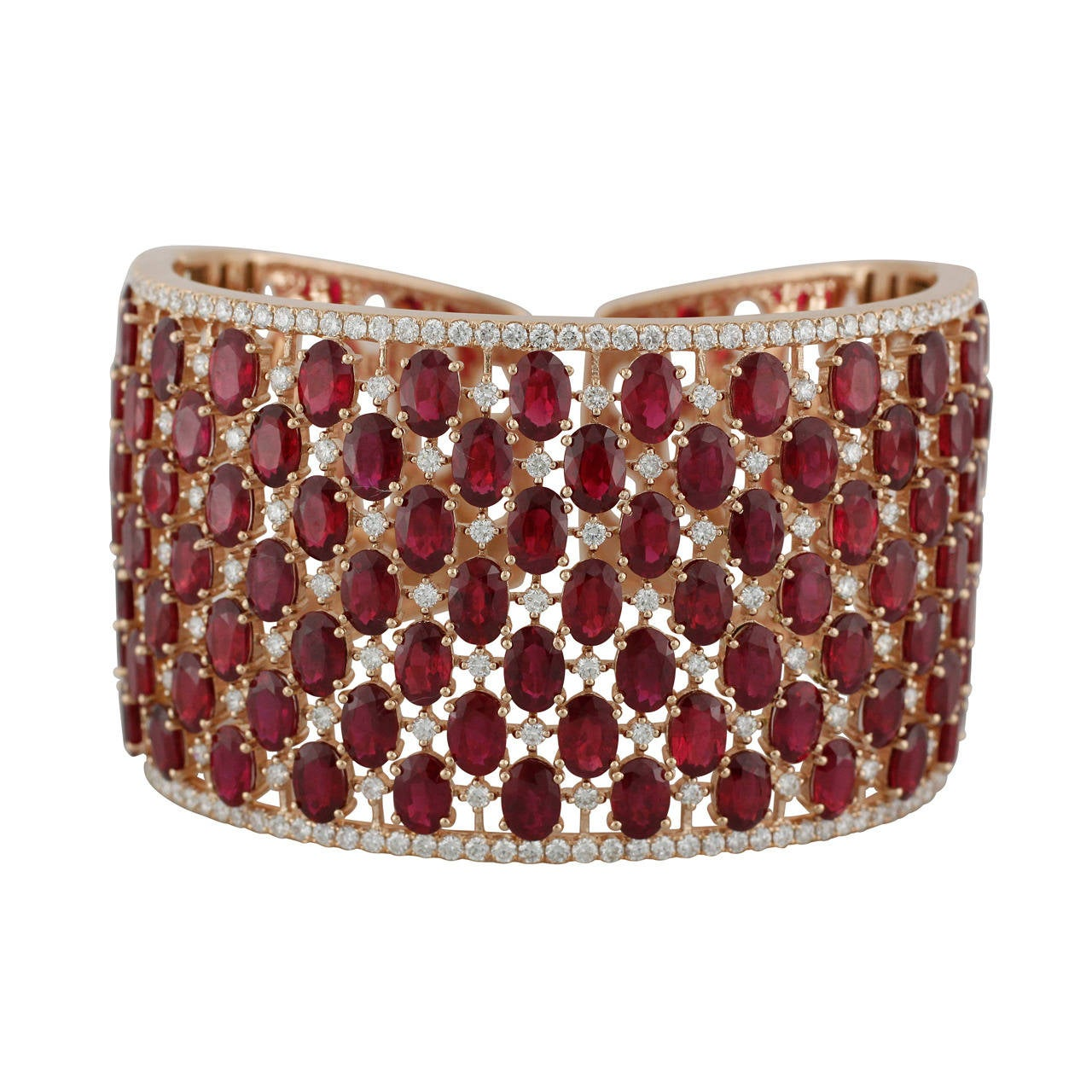Bold Ruby Diamond Rose Gold Cuff Bracelet At 1stdibs