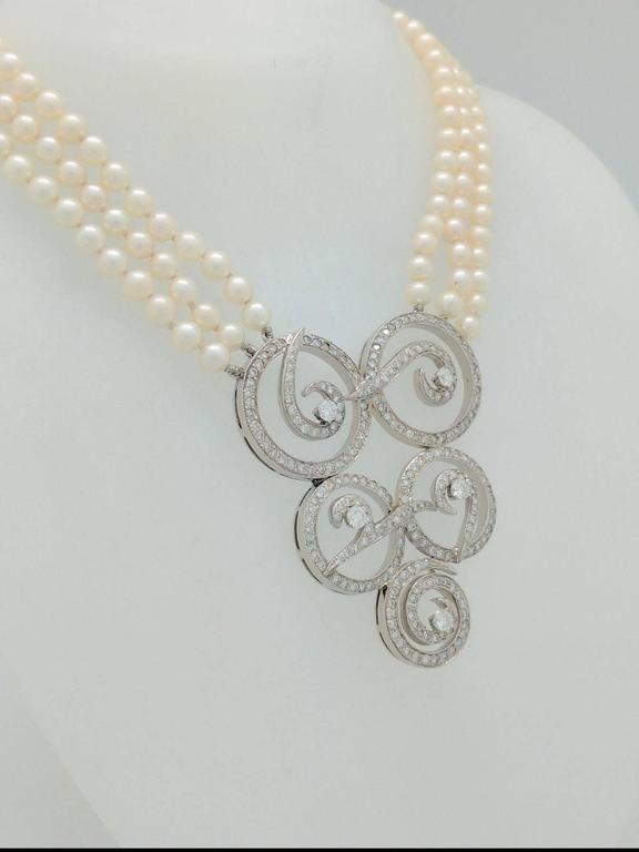 Multi Strand Cultured Akoya Pearl Diamond Enhancer Necklace 2