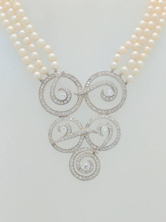 Multi Strand Cultured Akoya Pearl Diamond Enhancer Necklace 3
