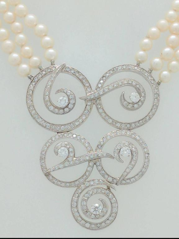 Multi Strand Cultured Akoya Pearl Diamond Enhancer Necklace 4