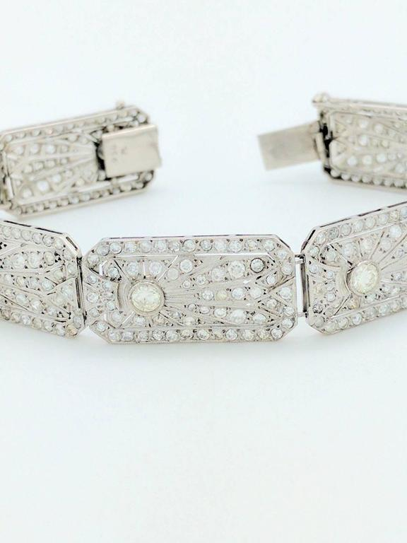 Art Deco 8.68 Carat Diamonds Platinum Bracelet 3