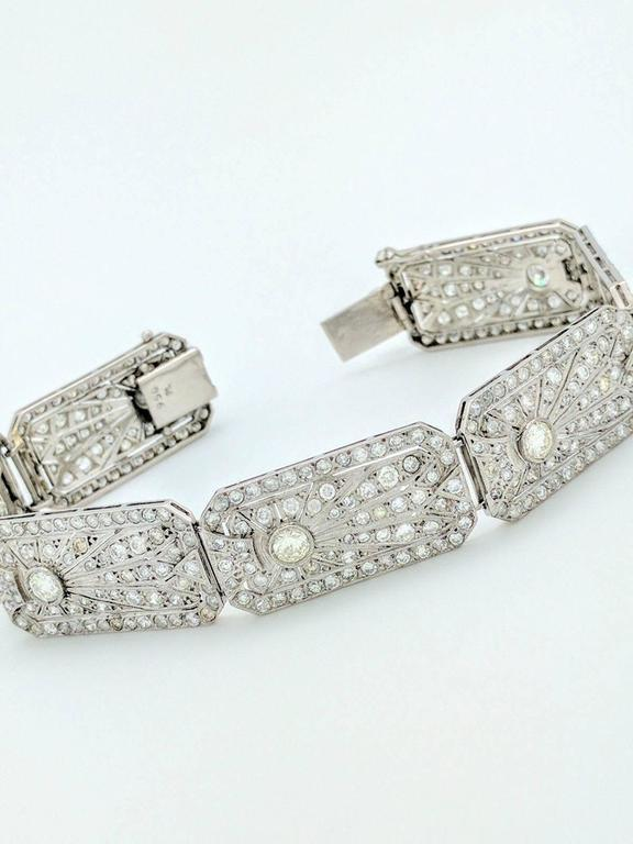 Art Deco 8.68 Carat Diamonds Platinum Bracelet 2