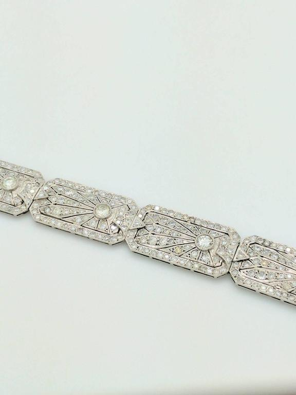 Art Deco 8.68 Carat Diamonds Platinum Bracelet 4