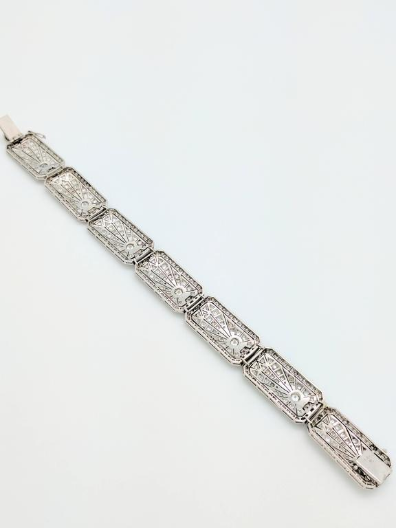 Art Deco 8.68 Carat Diamonds Platinum Bracelet 6