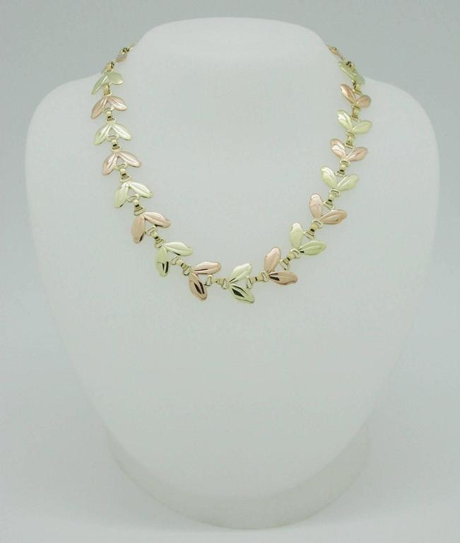 1950s Tiffany & Co. Pink and Yellow Gold Leaf Necklace 2