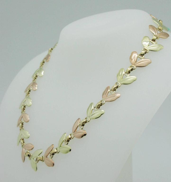 1950s Tiffany & Co. Pink and Yellow Gold Leaf Necklace 3